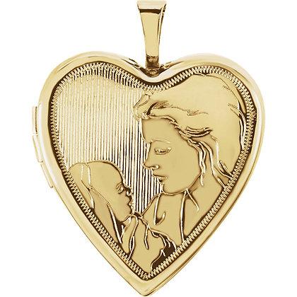 14K Yellow Gold 20.75x19.25mm Child & Mother Heart Locket