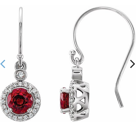 14K White Gold Lab-Grown Ruby & 1/6 CTW Diamond Halo-Style Earrings