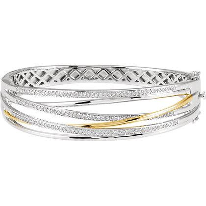 "14K White & Yellow Gold 1 CTW Diamond 8"" Bracelet"