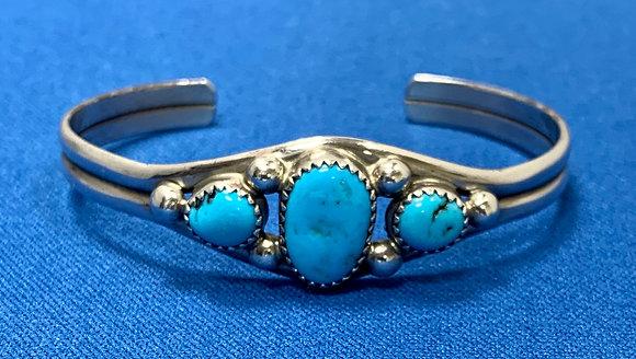 Navajo Indian Sterling Silver Turquoise Bracelet