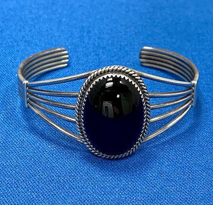Sterling Silver Onyx Native American Indian Cuff Bracelet