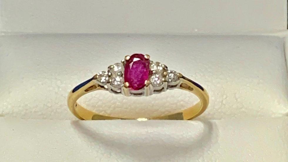 Yellow & White Gold Ruby & Diamond Ring