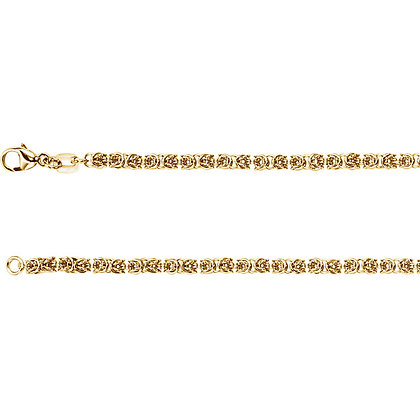 """14K Yellow Gold 2.75mm Solid Byzantine 18"""" Chain"""
