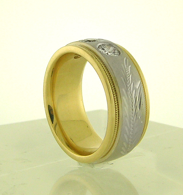 White & Yellow Gold Wedding Band