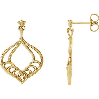 14K Yellow Gold Vintage-Inspired Dangle Earrings
