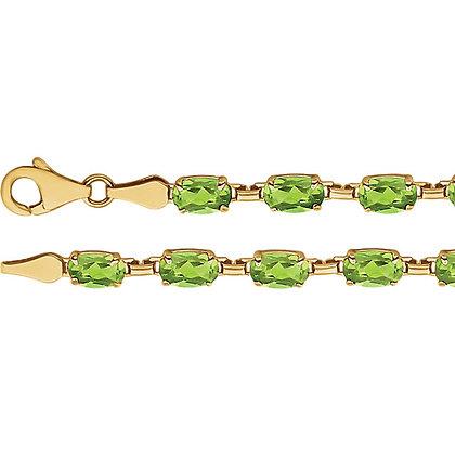 "14K Yellow Gold Peridot 7.25"" Bracelet"