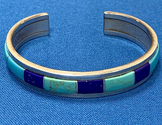 Sterling Silver Turquoise & Lapis Cuff Bracelet