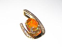 Yellow Gold Fire Opal & Diamond Slide