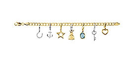 Yellow Gold Charms & Dangle Bracelet