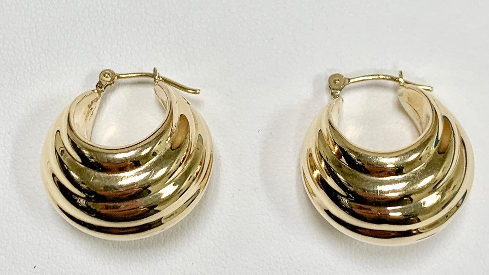 Yellow Gold Scalloped Hoop Earrings