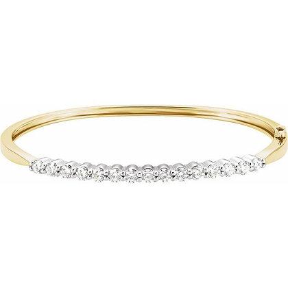 "14K Yellow/White 2 1/8 CTW Diamond Bangle 7"" Bracelet"