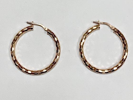 Sterling Silver Hoop Earrings With Rose Overlay