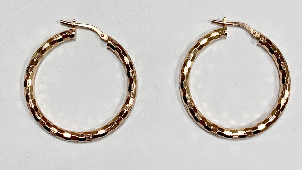 Sterling Silver Hoop Earrings With Rose Overlay