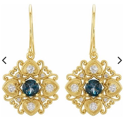 14K Yellow London Blue Topaz & 1/2 CTW Diamond Vintage-Inspired Filigree Earring