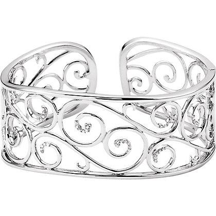 Diamond Filigree Scroll Cuff Bracelet