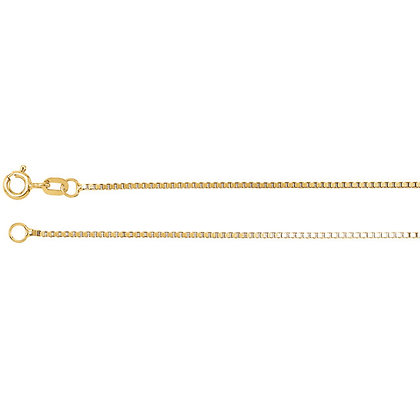 """14K Gold 1.2mm Solid Box 16"""" Chain"""