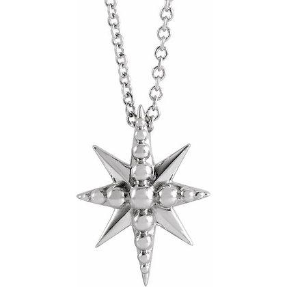 """14K White Gold Beaded Starburst 16-18"""" Necklace"""