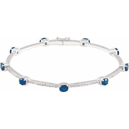 14K White Gold Sapphire & 3/4 CTW Diamond Line Bracelet