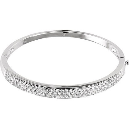 "14K White 3 CTW Diamond Pave' Bangle 7"" Bracelet"