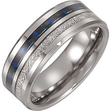 Tungsten Band with Imitation Meteorite & Carbon Fiber Inlay
