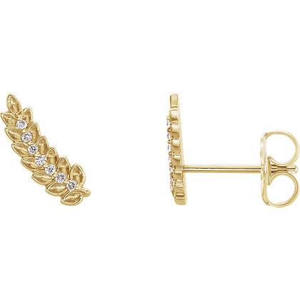 14K Yellow Gold .04 CTW Diamond Leaf Ear Climbers