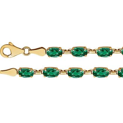 "14K Yellow Gold Lab-Grown Emerald 7.25"" Bracelet"