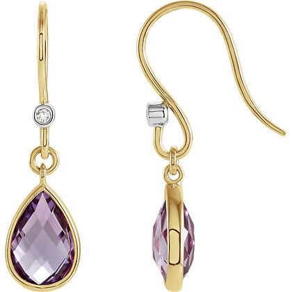 14K Yellow Gold Amethyst & Diamond Earrings