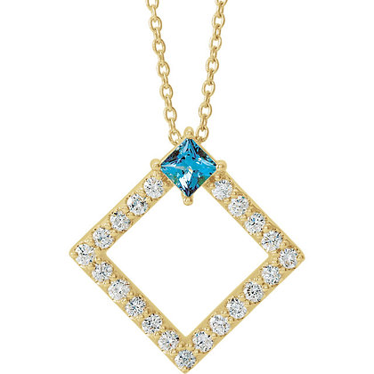 "14K Yellow Gold Aquamarine & 3/8 CTW Diamond 16-18"" Necklace"