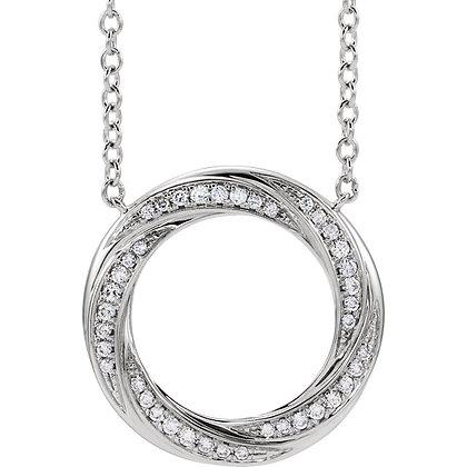 14K Gold 1/5 CTW Diamond Circle Necklace
