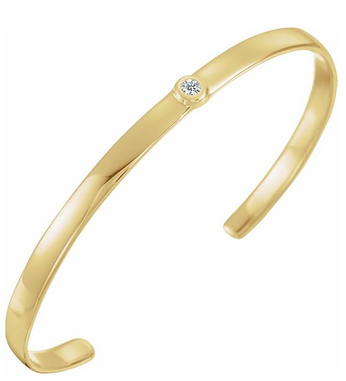 "14K Yellow Gold 1/10 CT Diamond Cuff 6"" Bracelet"