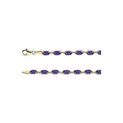 "14K Yellow Gold Amethyst 7.25"" Bracelet"