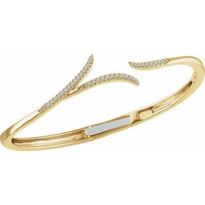 "14K Yellow Gold 1/4 CTW Diamond Hinged 7"" Bracelet"