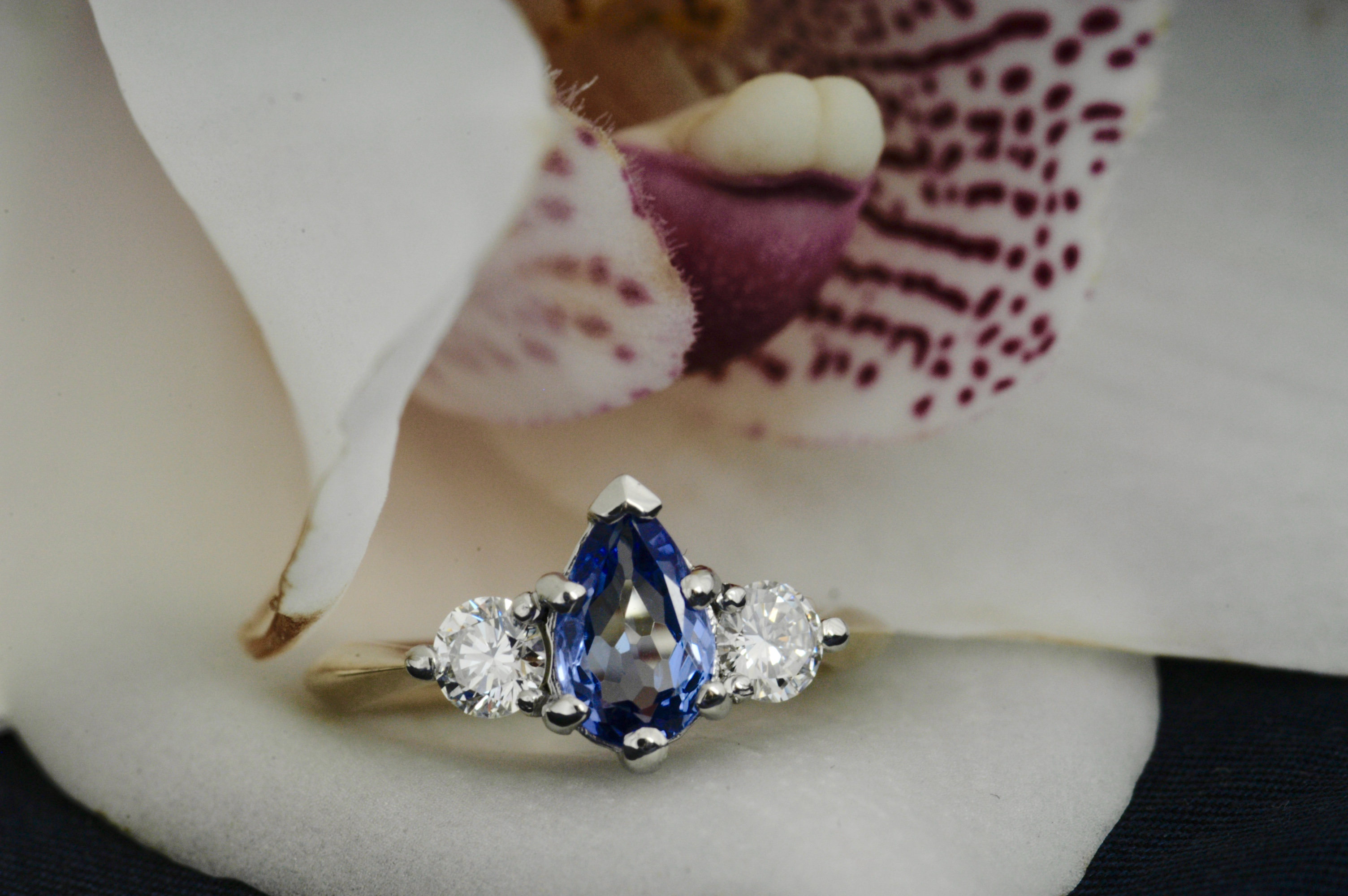 Tanzanite & Diamond Three Stone Ring