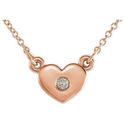 "14K Rose Gold .03 CTW Diamond Heart 16"" Necklace"