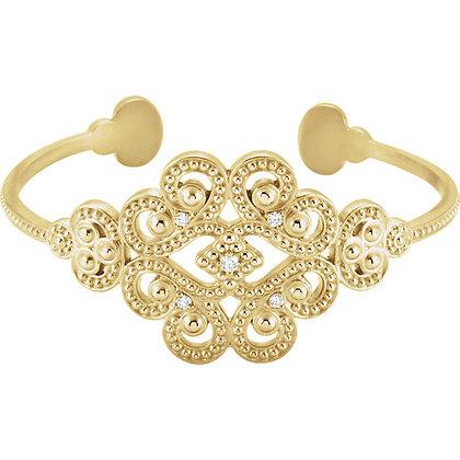 """14K Yellow Gold 1/6 CTW Diamond 7"""" Cuff Bracelet"""
