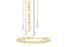 Yellow gold, white gold, rose gold & platinum chains.