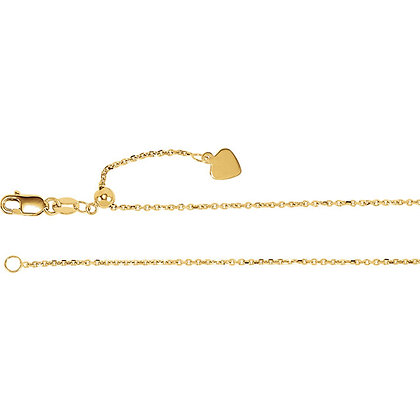 """14K Gold 1mm Adjustable Cable 22"""" Chain"""