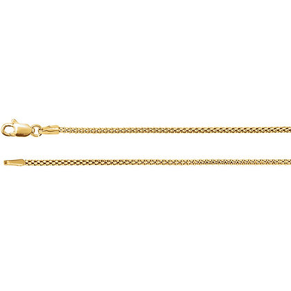 "14K Gold 1.5mm Hollow Popcorn 16"" Chain"
