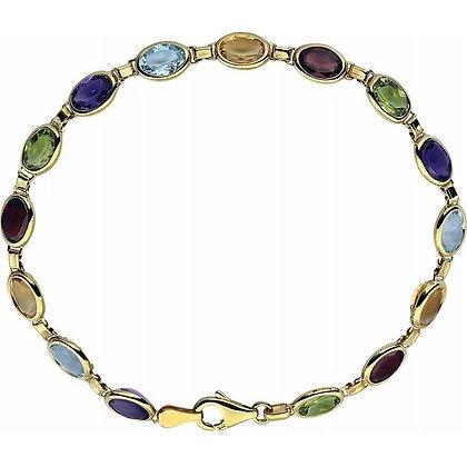 "14K Yellow Gold Multi-Gemstone Line 7"" Bracelet"