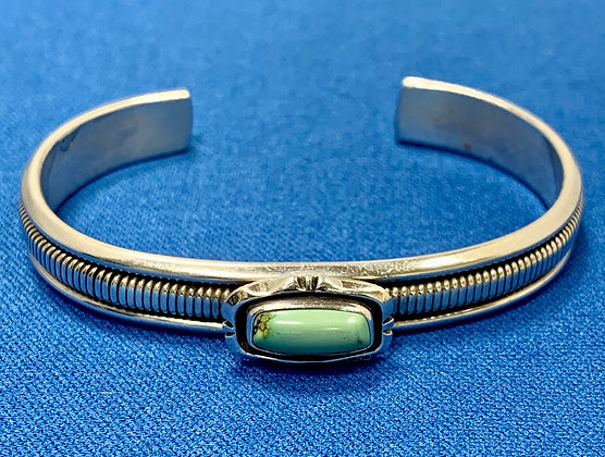 Sterling Silver Green Turquoise Native American Indian Cuff Bracelet