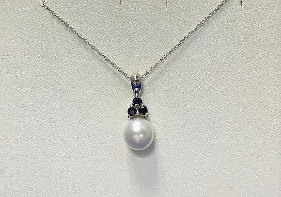 White Gold Pearl & Sapphire Pendant