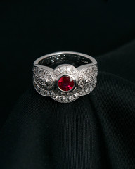 White Gold Ruby & Diamond Engagement Ring & Matching Diamond Wedding Band