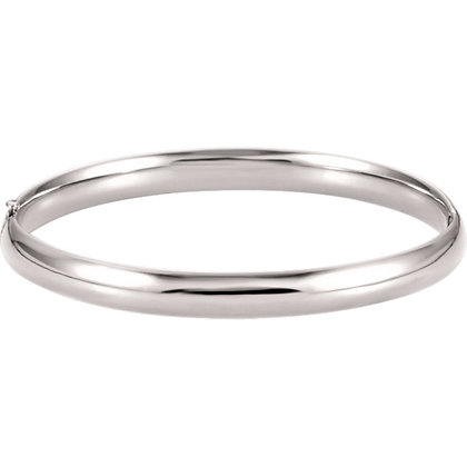 14K White Gold 6.5mm Hinged Bangle Bracelet
