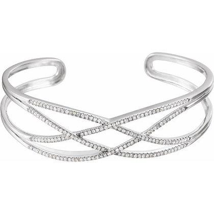 "14K White Gold 3/4 CTW Diamond Criss-Cross Cuff 7"" Bracelet"