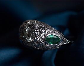 Antique Style Diamond & Emerald Ring
