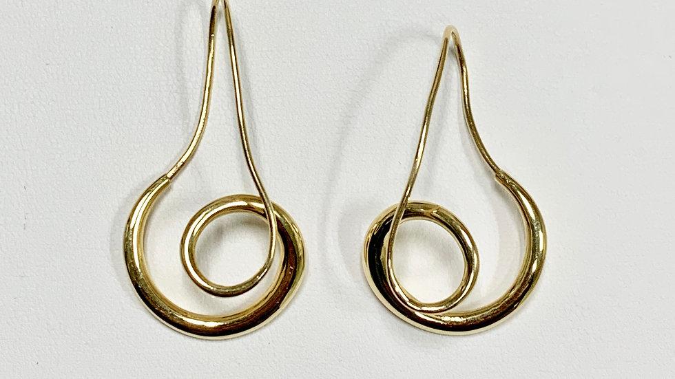 Yellow Gold Endless Freeform Earrings