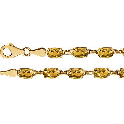 """14K Yellow Gold Citrine 7.25"""" Bracelet"""