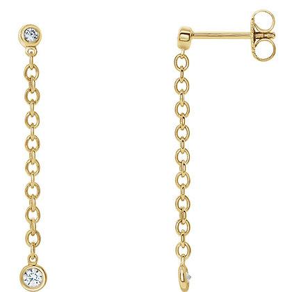 14K Yellow Gold Bezel Set Diamond Chain Earrings