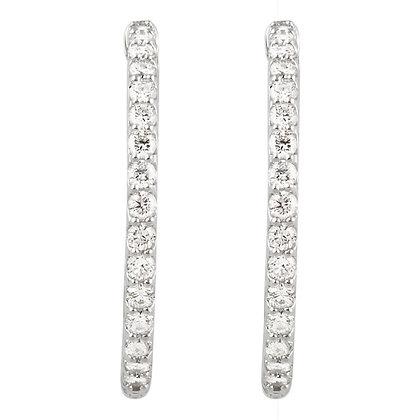 14K White Gold 2 CTW Diamond Inside/Outside Hoop Earrings
