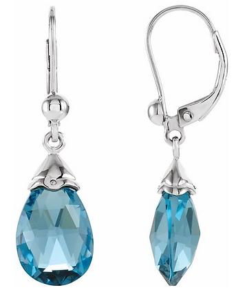 14K White Gold Swiss Blue Topaz Earrings